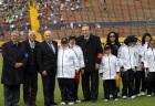 Luis Chiriboga, Pres. of the Ecuadorian Football Federation; Hector Cueva, Pres. of SO Ecuador; Joseph Blatter, Pres. of FIFA; Nicolás Leoz, Pres. of CONMEBOL and SO Ecuador athletes at the FIFA event.