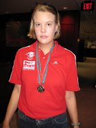 Garrie Barnes with her medals.