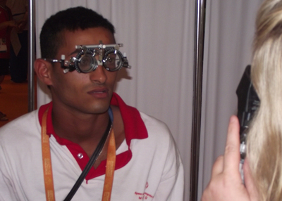 Hicham Novara from Morocco getting his vision checked