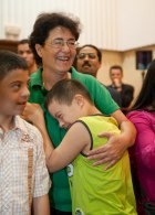 A young Moroccan athlete hugs HRH Princess Lalla Amina during Special Olympics Global Athlete Congress in Marrakech, Morocco (06 June 2010)