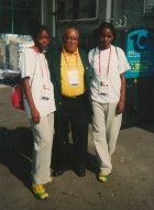 Teddy McCook with athletes from Special Olympics Jamaica