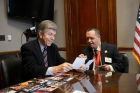 Tanner Hrenchir of Special Olympics  Missouri shares photos of his Special Olympics competitions with Missouri Senator Roy Blunt.