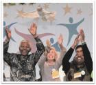 Nelson Mandela celebrating at the 2003 Special Olympics World Summer Games