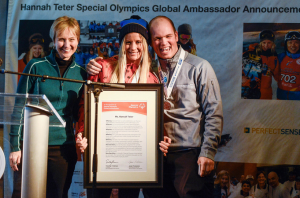 Special Olympics CEO Janet Froetcher (left) and Special Olympics Colorado athlete FIRST LAST (right) welcome Hannah Teter (center) as the first action sports Global Ambassador for Special Olympics.