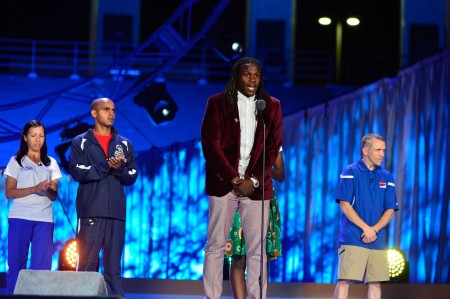 Jamaal Charles, Professional Football Player, talks to the Special Olympics Athletes about courage.