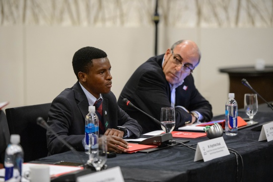 Left: Sargent Shriver International Global Messenger and Special Olympics Botswana Athlete Brightfield Shadi; Right: Mr. Muhtar Kent; Chairman and CEO, The Colca-Cola Company