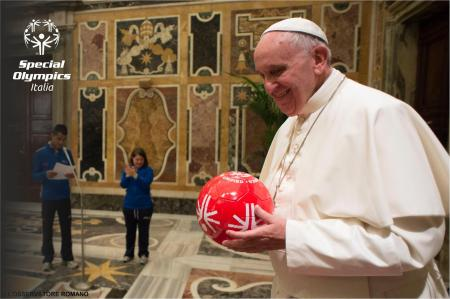 Pope Francis smiles with the iconic Special Olympics Unified Ball during a ceremony in Rome with Special Olympics Italy athletes prior to the 2015 Special Olympics World Summer Games in Los Angeles.